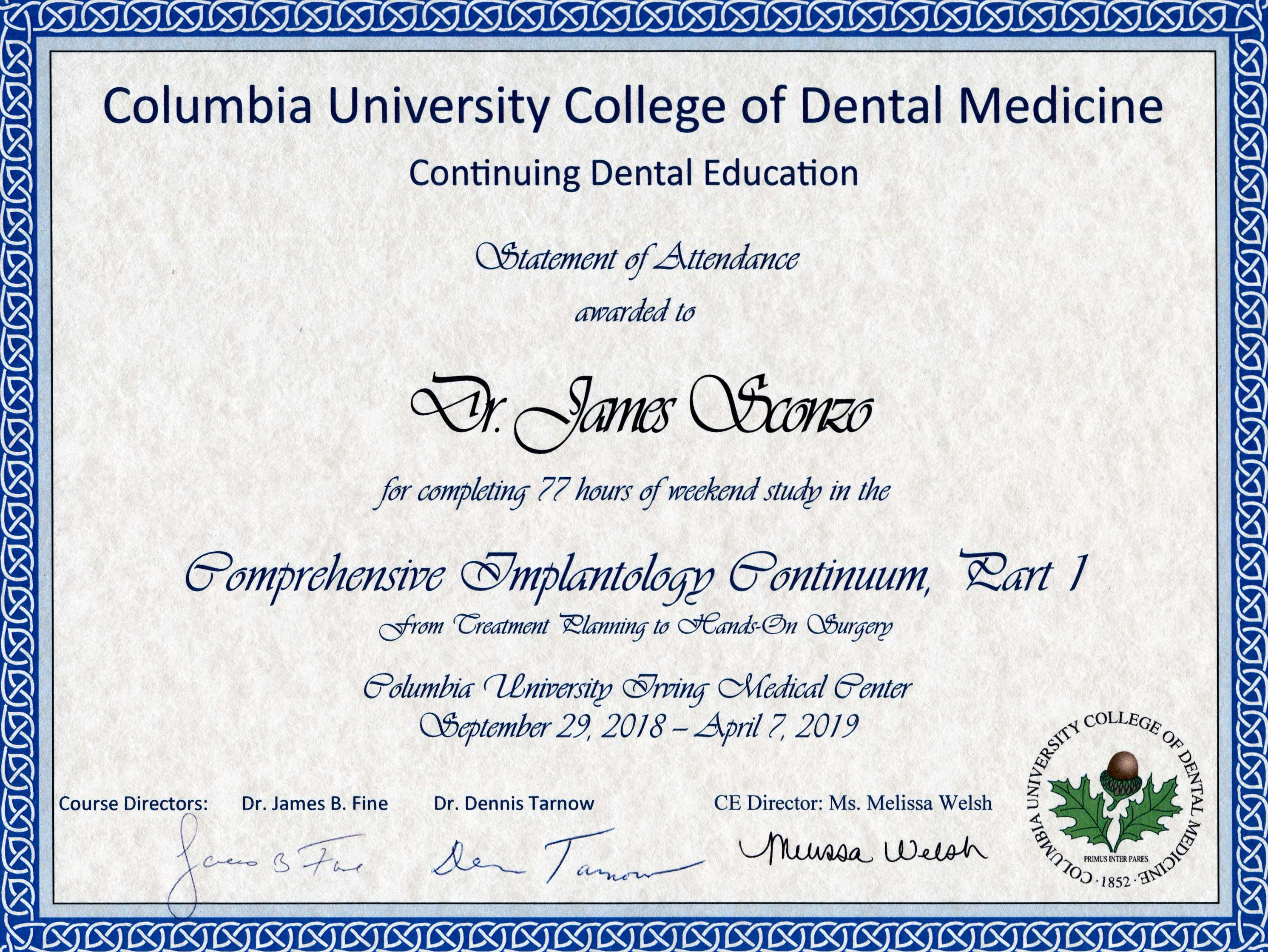 Implantology course diploma